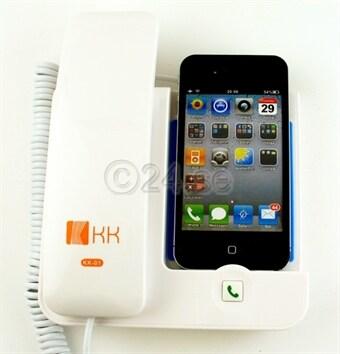 Pöytäpuhelin, iPhone 3G 3GS 4 vastausnappulalla ja synkkauksellat